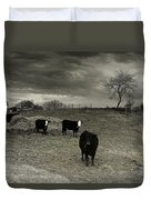 Cattle In The Winter Pasture Series Image 2 Duvet Cover