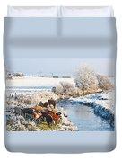 Cattle In Winter Duvet Cover