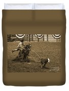 Cattle Roping In Colorado Duvet Cover