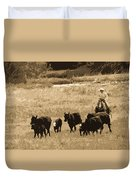 Cattle Round Up Sepia Duvet Cover