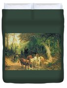 Cattle Watering In A Wooded Landscape Duvet Cover