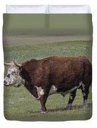 Cattle With Horns Full Body Portrait Duvet Cover