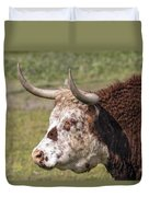 Cattle With Horns Side Portrait Duvet Cover