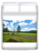 Cattles Roaming Through Hawley Lake Arizona Duvet Cover