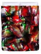 Caught In The Crowd Two Water Color And Pastels Wash Duvet Cover