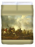Cavalry Attacking Infantry Duvet Cover