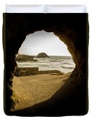 Cave View Of Rocks Near San Francisco Ca Cliff House Duvet Cover