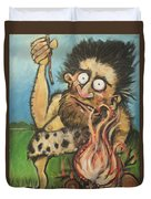 Caveman And Fire Duvet Cover