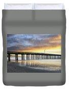 Cayucos Pier Reflected Impasto Duvet Cover