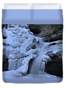 Cedar Falls In Winter At Hocking Hills Duvet Cover by Dan Sproul