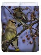 Cedar Waxwing Eating Berries 9 Duvet Cover