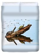 Happy Family Of Turtles Duvet Cover