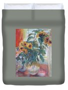 Sale - Sunflowers In Window Light - Original Impressionist - Large Oil Painting Duvet Cover