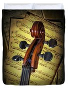 Cello Scroll With Sheet Music Duvet Cover