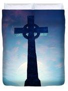 Celtic Cross With Moon Duvet Cover
