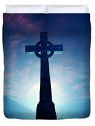 Celtic Cross With Moon Duvet Cover