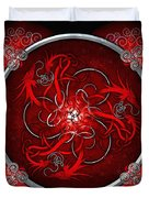 Celtic Dragons - Red Duvet Cover by Richard Barnes