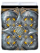 Celtic Hearts - Gold And Silver Duvet Cover by Richard Barnes