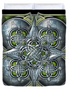 Celtic Hearts - Green And Silver Duvet Cover