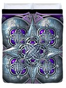 Celtic Hearts - Purple And Silver Duvet Cover by Richard Barnes