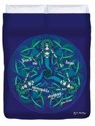 Celtic Mermaid Mandala In Blue And Green Duvet Cover