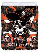 Celtic Spiral Pirate In Orange And Black Duvet Cover