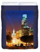 Center City Philadelphia Night Duvet Cover