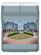 Center Fountain Piece In Piedmont Plaza Charlotte Nc Duvet Cover
