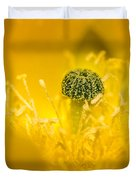Center Of A Yellow Cactus Flower Duvet Cover