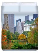Central Park And Fifth Autumn View Duvet Cover