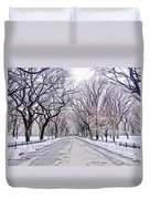 Central Park Mall In Winter Duvet Cover