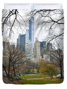 Central Park South Buildings From Central Park Duvet Cover