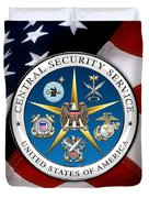 Central Security Service - C S S Emblem Over American Flag Duvet Cover