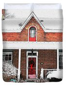 Century Home With Christmas Wreath Duvet Cover