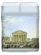 Ceremony Of Laying The First Stone Of The New Church Of St. Genevieve In 1763, 1764 Oil On Canvas Duvet Cover