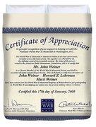 Certificate Of Appreciation Duvet Cover