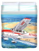 Cessna 206 Flying Over The Outer Banks Duvet Cover