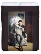 Cezanne's The Artist's Father Reading Le Evenement Duvet Cover