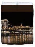 Chain Bridge And Buda Castle Winter Night Duvet Cover
