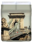 Chain Bridge Crossing The Danube River Duvet Cover