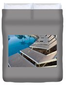Chairs Around Hotel Pool Duvet Cover by Brandon Bourdages