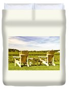 Chairs Overlooking Vineyard Duvet Cover