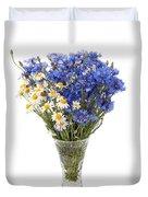 White Camomile And Blue Cornflower In Glass Vase  Duvet Cover