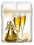 Champagne And New Years Party Decorations Duvet Cover
