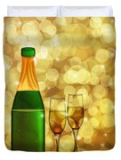 Champagne Bottle And Two Glass Flutes Duvet Cover