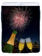 Champagne Toast With Portland Oregon Skyline Duvet Cover by JPLDesigns