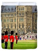 Changing Of The Guard In Front Of Parliament Building In Ottawa- Duvet Cover