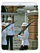 Changing Of The Guard Near Reception Hall At Grand Palace Of Thailand In Bangkok Duvet Cover