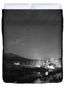 Chapel On The Rock Stary Night Portrait Bw Duvet Cover
