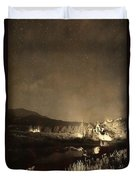 Chapel On The Rock Stary Night Portrait Monotone Duvet Cover by James BO  Insogna